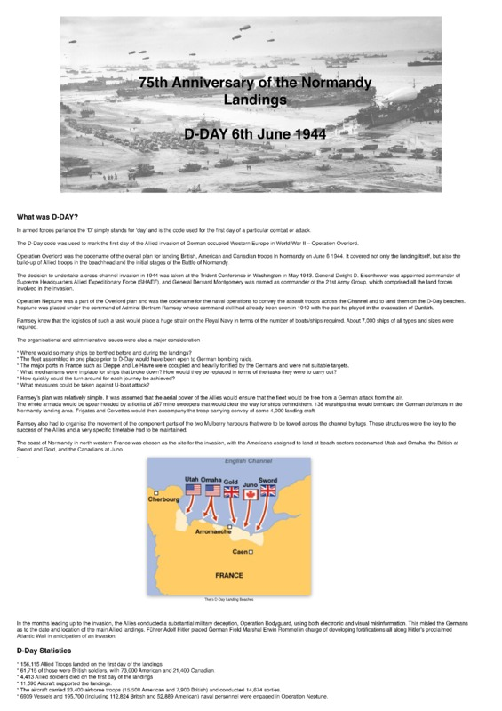 75th Anniversay of the D-Day Landing